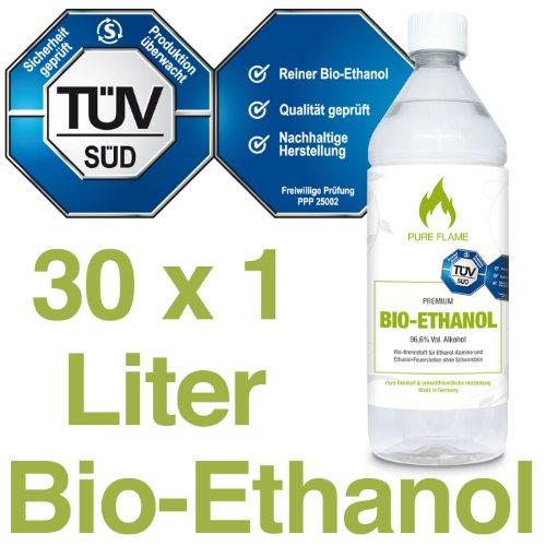 30 x 1L Bioethanol 96,6{431b8e2cb23a3c7e4643147342697cce1a52226166b2b068db0bd5afe3200cd5} - 30 Liter in 1L Flaschen zum handlichen & sicheren Gebrauch-TÜV geprüfte Reinheit, Qualität, Sicherheit & nachhaltige Herstellung - Made in Germany 2,19 EUR/L. !!!
