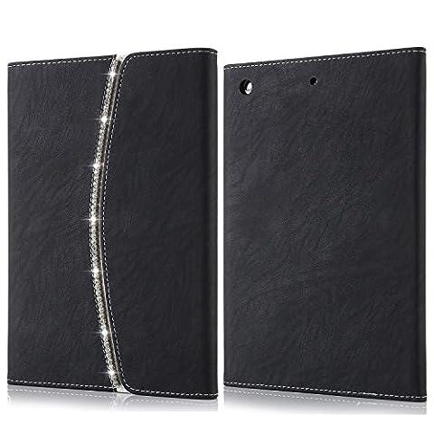 Für iPad Fall, bling Luxus Kristall Diamant [Strass] Flip PU Leder Smart Fall, [Stilvolle Handtasche] mit Kartenfächer Magnetverschluss Schutzhülle für iPad Air