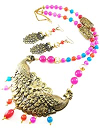 Oxidised German Silver/fashion/Antique/new Design Jewellery Multicolored Necklace Set For Women And Girls