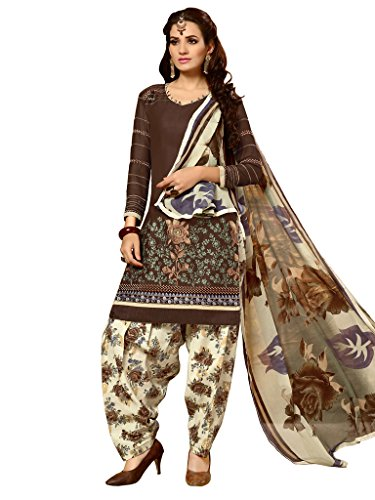 Varayu Women's Cotton Dress Material (462D2010_Free Size_Brown)