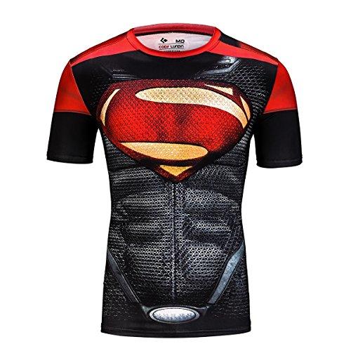 Cody Lundin Fashion Hero Logo T-Shirt männlichen Fitness Diamond Gedruckt Bewegung Gemischte Farbe Kurzarm 3D draußen Party Stil Muskelshirt (M)