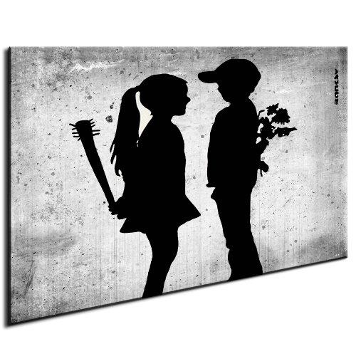 Meets Girl (Fotoleinwand auf Keilrahmen - Banksy Graffiti Boy Meets Girl - artfactory24 / AF0094 / Schwarz-Weiß / 100x70 cm)
