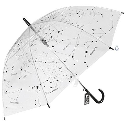 Paraguas Transparente Constelaciones apertura automática - Estrellas del universo mostrando la Vía Láctea del cielo estrellado - 100 cm de diámetro una vez abierto - Plástico de alta resistencia