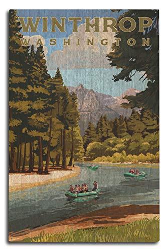 Washington-antik-karte (Lantern Press Winthrop, Washington, Fluss-Rafting, Holz, Multi, 10 x 15 Wood Sign)