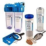 PureOne FS2 FillUp-Set. 2-Stufige Filteranlage 10 Zoll. Leer-Kartuschen zum selber befüllen. Filtergehäuse inklusive 1x Matte und 1x Transparente Filterkartusche. Für Hauswasserwerk, Zisterne 3/4 Zoll