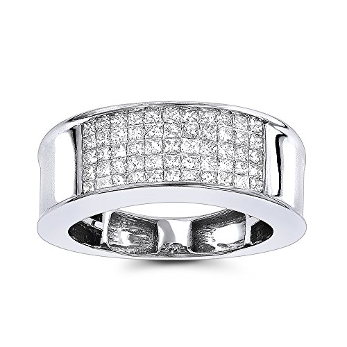 White Gold Cut Princess Herren-ring (Luxurman 14K Mens Natural 1 Ctw Sparking Diamonds Band Princess Cut Ring (White Gold Size 8))