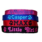 Personalised Strong Nylon Dog Collars Pink Blue Red Black FREE Embroidered Personalisation. ID Collar. (20 Inch (L)) 8