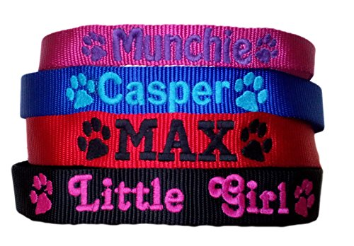 Personalised Strong Nylon Dog Collars Pink Blue Red Black FREE Embroidered Personalisation. ID Collar. (20 Inch (L)) 1