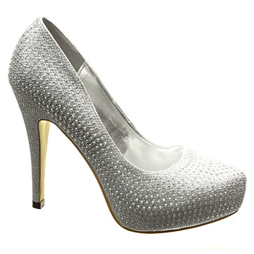 Angkorly Damen Schuhe Pumpe - Stiletto - Sexy - Abend - Strass - Glitzer Stiletto High Heel 12 cm cm Silber