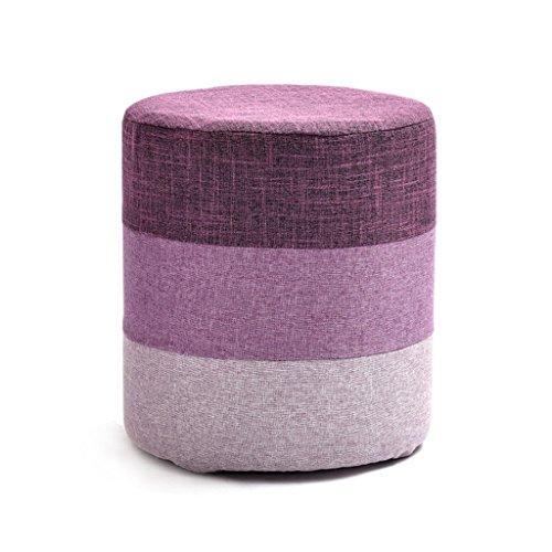 Cadre en bois massif de haute qualité en bois pour tabouret de chaussure haute éponge élastique tabouret amovible et lavable en tissu ( Color : Purple )