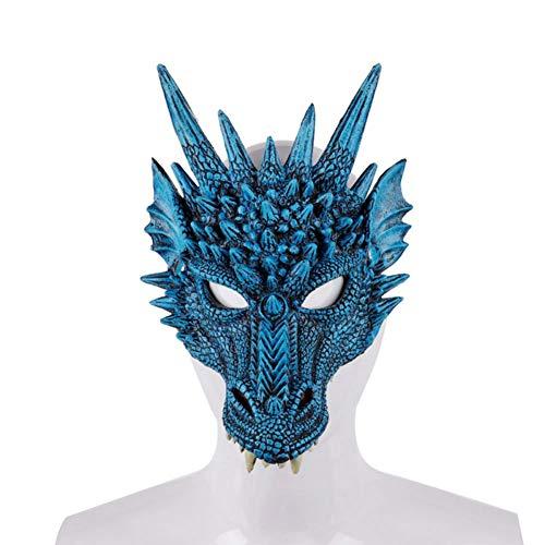 4D Drachen Maske Halbe Gesichtsmaske Für Kinder Teens Halloween Kostüm Partydekorationen Tierkopf Monster Horror Gummi Halloween Masken VON Iswell (Teen Party Monster Kostüm)