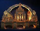 Exclusiver 3D Schwibbogen Dresden Frauenkirche 72cm + Unterbank Augustusbrücke Handarbeit aus dem Erzgebirge