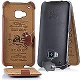 PCARO® Smooth Jazz Echtleder Hülle für HTC-One-M9 Handmade Rindsleder Leder Tasche in Schwarz - Ledertasche inkl. Display Schutzfolie - ORIGINAL Cover
