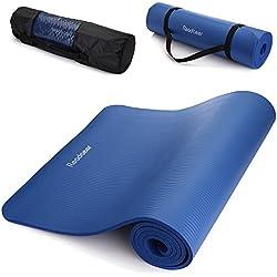 Readaeer - Colchoneta de Yoga Esterilla, Gruesa y Suave, Medidas:183 x 61 x 1 cm con bolsa y correa, azul, Mejor elige para Yogini/Yogistar