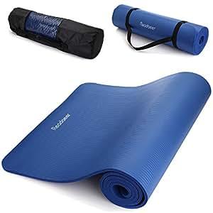 Readaeer® Fitnessmatte Yogamatte für Gymnastik Yoga Pilates 183 x 61 x 1,0 cm mit Tasche und Tragegurt [MEHRWEG] (Blau)