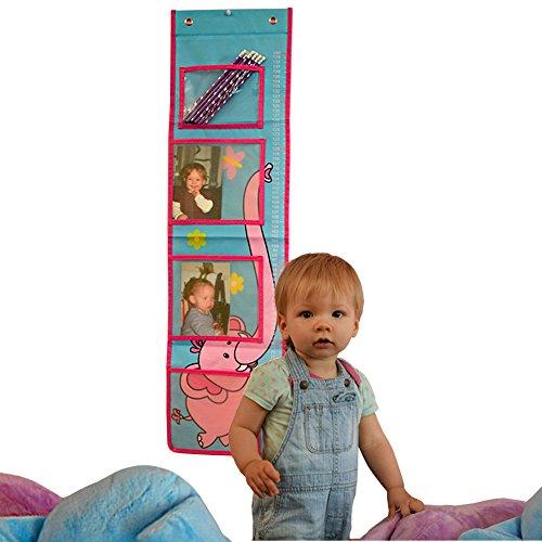 Preisvergleich Produktbild TE-Trend Kinder Körpergröße Messlatte Kunststoff Hänge Organizer 3 Taschen mit Fototasche für das Kinderzimmer 91 x 28 cm