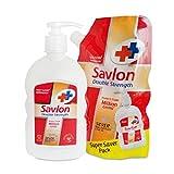 #5: Savlon Double Strength Handwash Pouch - 500 ml with Free Pump - 220 ml