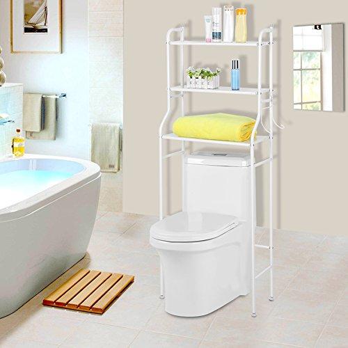 Estantería Auxiliar de 3 Niveles para Baño WC Estante de Almacenamiento de Inodoro de Metal Ahorro de Espacio(Blanco)