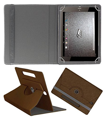 ACM Designer Rotating Leather Flip Case for Micromax Canvas Tab P666 Cover Stand Brown