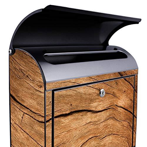 banjado – Schwarzer Design Briefkasten Zeitgsfach 38x42x11cm Wandbriefkasten mit Motiv Trockenes Holz, Briefkasten schwarz ohne Standfuß - 4