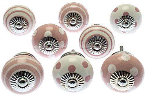 Mixed SET de 8x color rosa y blanco lunares y rayas cerámica armario pomos (mg-729)–'mango árbol' TM producto registrado