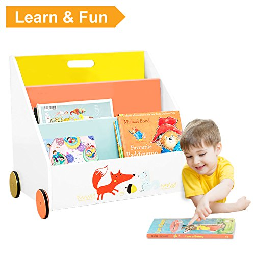 Labebe Kinder Bücherregal, Holz Standregal with Räder, Orange Kiefer 2-in-1 Bücherregal Für...