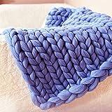 EXQULEG Gestrickte Decke, Grobe Strickdecke Wolle Garn Super große handgewebte Decke Haustier Bett Stuhl Sofa (Blau, 80 x 100 cm)