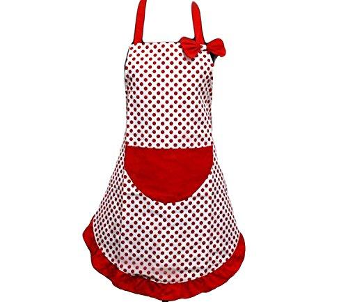 Rot Weiß Punkt Küchenschürze Kochschürzen für Frauen mit Taschen und Schleife
