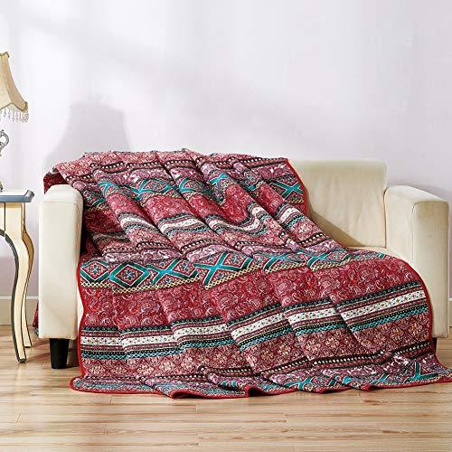 Qucover Baumwolle Tagesdecke, Steppdecke, Sommerdecke | 150 x 200 cm, Patchwork Stil, für Mädchen/Kinder