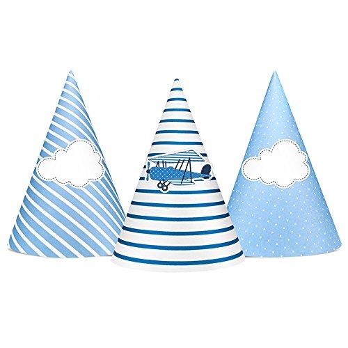 e und Partykronen | 6 Stück | Tolle Deko zum Kindergeburtstag (Partyhüte in Blau mit Flugzeug-Motiven) (Blau Flugzeug)