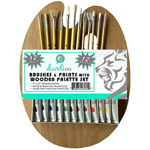 daveliou-paint-brushes-palette-set-12-brushes-12-acrylic-non-toxic-paints-wooden-palette