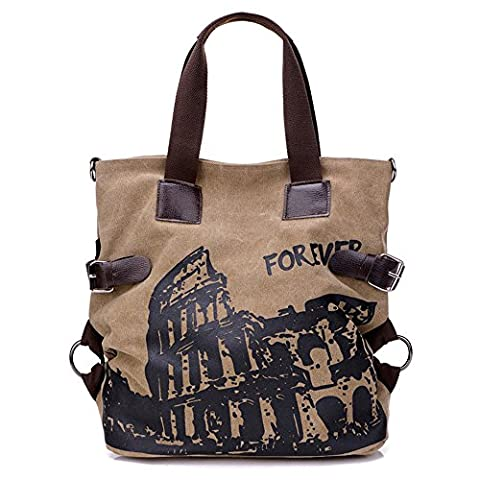 BYD - Femme Large Bag Sacs bandoulière Mutil Pocket Design Bag Crossbody Bag Tote Sacs portés main toile with Rome Arena Picture