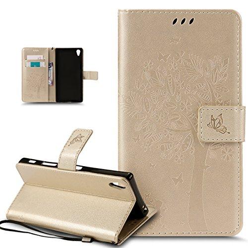 Kompatibel mit Schutzhülle Sony Xperia Z5 Premium Hülle Handyhülle,Prägung Katze Schmetterlings Floral Blumen Muster PU Lederhülle Flip Hülle Handyhülle Ständer Tasche Wallet Case Schutzhülle,Gold - Floral Wallet