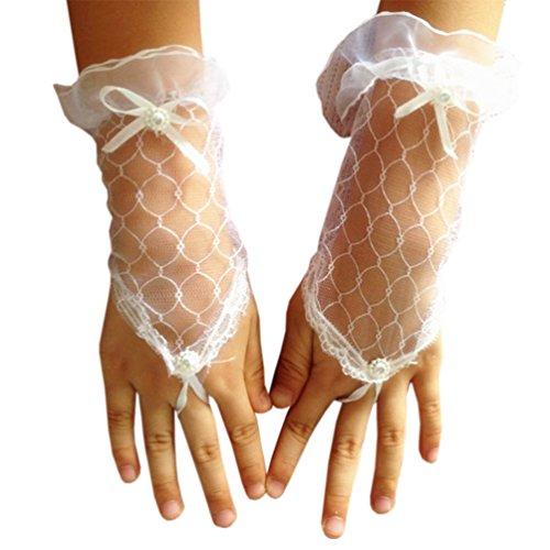 Lymanchi Blumen Mädchen Spitze Handschuhe Prinzessin Handschuhe Weiß One (Handschuhe Prinzessin Mit Schleife)