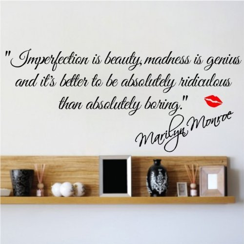 IMPERFECTION IS BEAUTY MARILYN MONROE WALL STICKER QUOTE Home DECAL ART  Vinyl MURAL Kids Baby Part 66