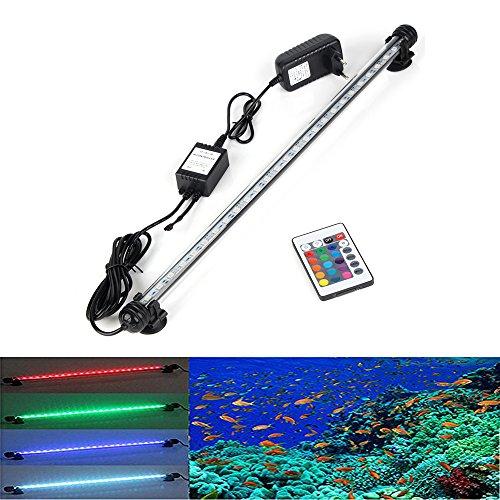 DOCEAN 48cm RGB Ferbedienung mit 24 Tasten Aquarium LED Beleuchtung Leuchte Lampe wasserfest Unterwasserlicht langsames Aufleuchten Deko für Aquarium Fische Tank (Taste Tank)