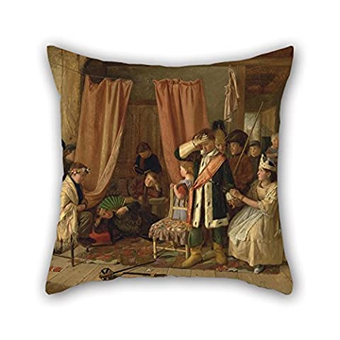Slimmingpiggy Pillowcase Of Oil Painting Charles Hunt - Children Acting The 'Play Scene' From 'Hamlet,' Act II, Scene Ii,for Deck Chair,christmas,saloon,car,festival,club 20 X 20 Inches / 50 By