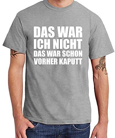 ::: DAS WAR ICH NICHT ... ::: T-Shirt Herren, Sports Grey mit Weiß, Größe XXL