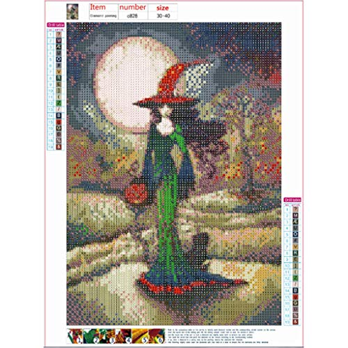 AMUSTER 5D Diamant-Malerei Kit,DIY Halloween Decor,DIY 5D Diamant Painting Kristall Strass Stickerei Kreuzstich Arts Craft für Home Wand-Decor -
