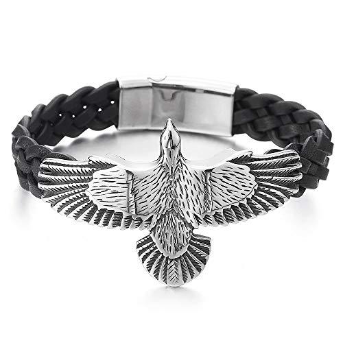 iMECTALII Rock Punk, Herren Edelstahl Vintage Fliegende Adler Armband Schwarz Geflochtene Lederarmband Schweißband -