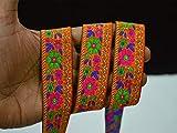 Indische Spitzen und Bordüren, 3,8 cm breit, Orange mit