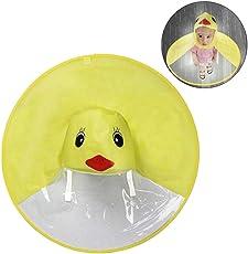 DD Kinder Regenjacken, Cartoon Ente UFO Form Faltbare Hände Frei Regenschirm Hut Regenbekleidung für Jungen und Mädchen