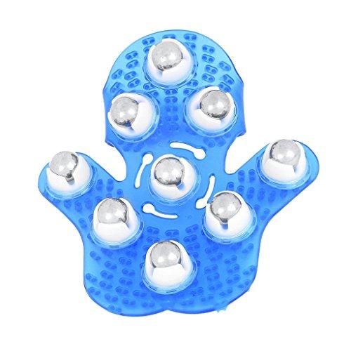 Gazechimp Gant de Massage en Plastique avec 9 Billes Métallique Massager Masseur du Corps en Palm pour Soulager Stress et Tension - Bleu