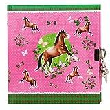 Goldbuch Tagebuch, Pferde, 96 weiße Seiten, 16,5 x 16,5 cm, Schloss mit 2 Schlüsseln, Laminierter Kunstdruck, Rosa, 44001