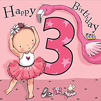 Twizler 3rd Birthday Card For Girl With Pink Ballerina Flamingo Cut Out Three