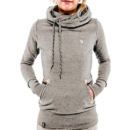 WTUS Donna Felpa con Cappuccio Casual Sportiva Moda Cotone Manica Lunga Sport grigio1