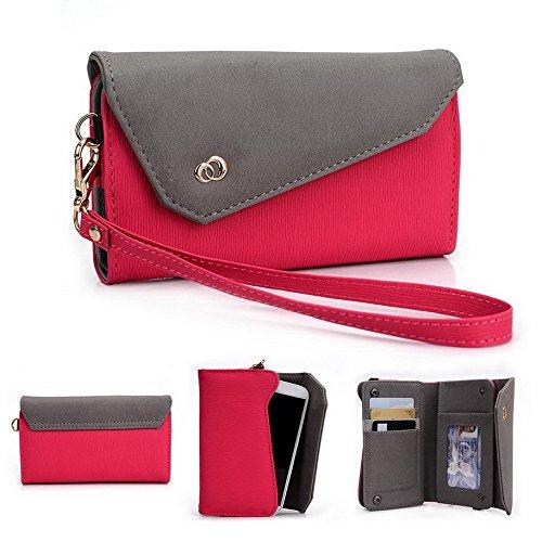 Kroo Lien Series portefeuille pour femme avec bracelet sac bandoulière universel compatible avec étui pour téléphone SONY XPERIA J/Sony Xperia L/Sony Xperia E Purple and Magenta Magenta and Grey