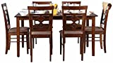 #9: HomeTown Eva Six Seater Dining Table Set (Textured Finish, Brown)