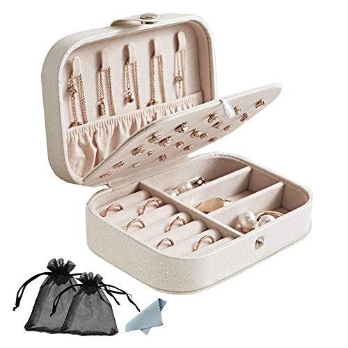 Schmuckkästchen Damen, Vielseitig Langlebig Tragbar 3-lagig Schmuck-Organizer-Schatulle für Halskette Ohrringe Ringe Armbänder Uhren Manschettenknöpfe - Weiß -