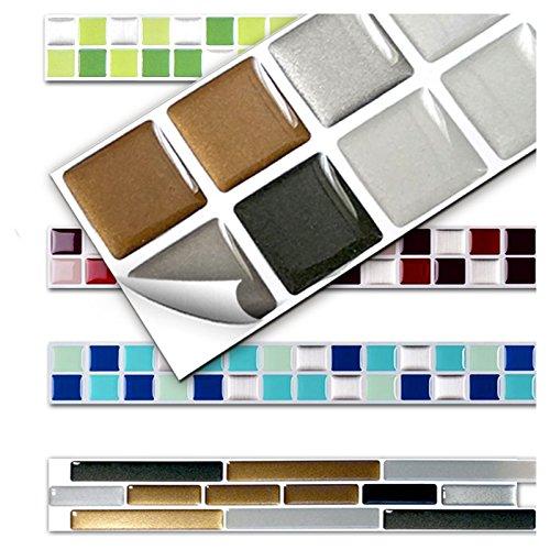7 Stück 25,3 x 3,7 cm kupfer dunkelgrau silber Fliesenaufkleber Design 6 I Küche Bad Fliesendekor selbstklebend 3D Mosaik Aufkleber Wandora W1431